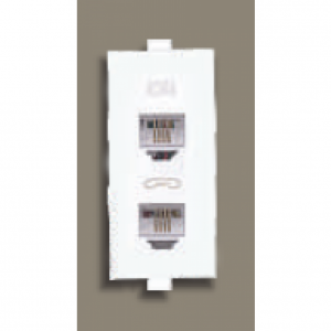 Schneider Opale - Twin RJ 11 Tel outlet No Shutter(Coke Grey)