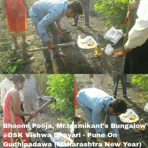 Bhoomi Pooja Mr.laxmikant Bungalow@ dsk vishwa dhayari - Pune On Gudhipadawa (Maharashtra New Year.)