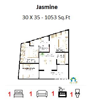 1-BHK Floor Plan for 30 x 35 Feet plot (1053 Square Feet)