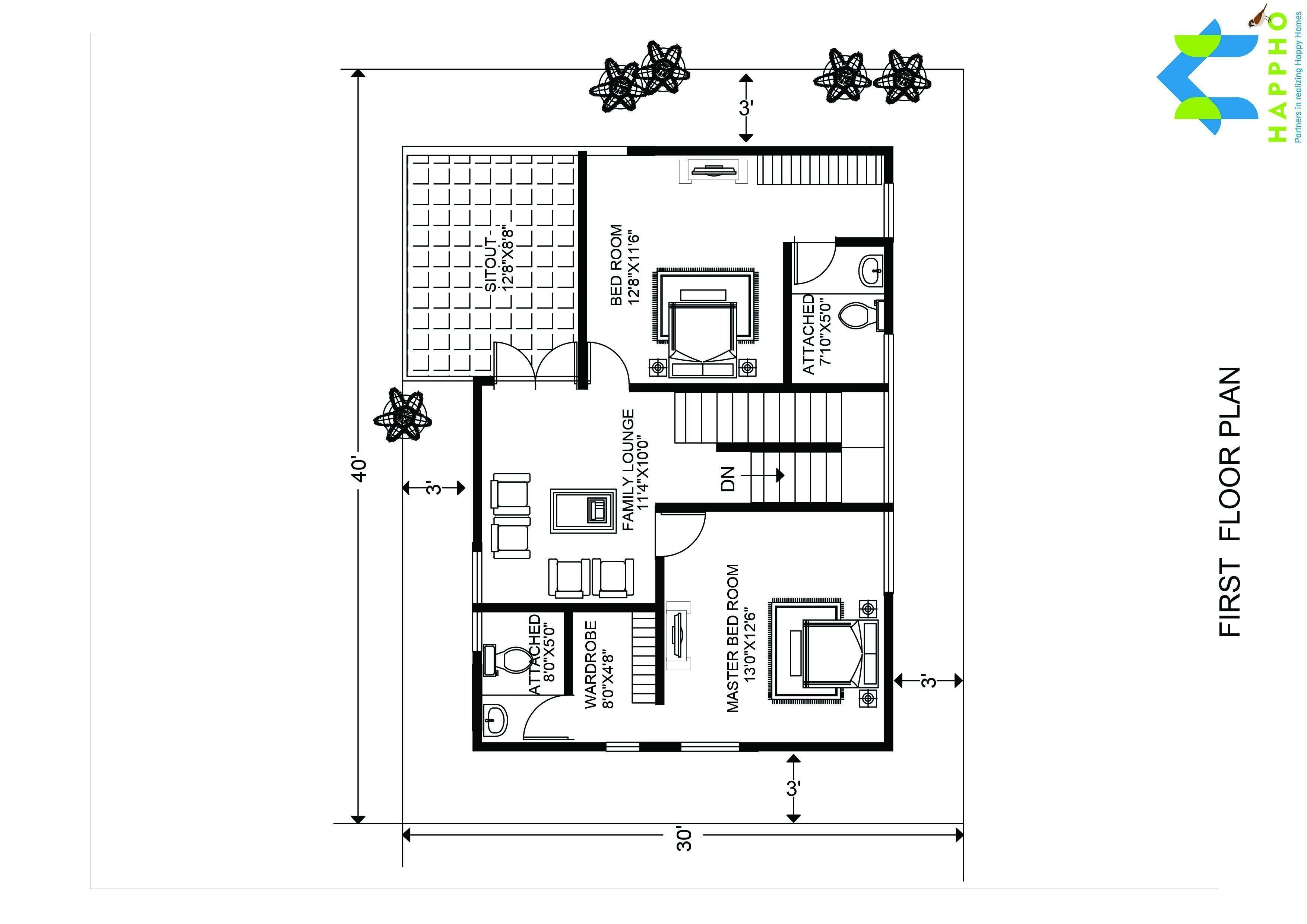 1 bhk floor plan for 20 x 40 feet plot 800 square feet for House plan for 30 feet by 40 feet plot