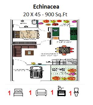 FLOOR PLAN FOR 20 X 45 FEET PLOT (900 SQUARE FEET)