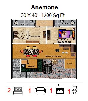 Floor Plan for 30ft x 40ft  Feet plot  1200 Sq.Ft.