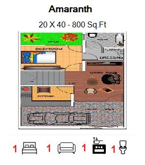 Floor Plan for 20ft x 40ft plot  800 Sq.Ft.