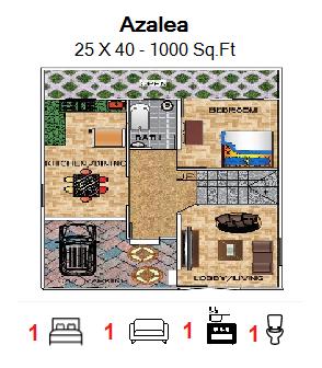 Floor Plan for 25ft x 40ft  Feet plot  1000 Sq.Ft.