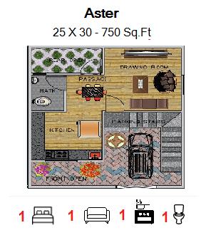 Floor Plan for 25ft x 30ft  Feet plot  750 Sq.Ft.