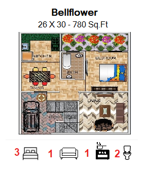 Floor Plan for 26ft x 30ft  Feet plot  780 Sq.Ft.