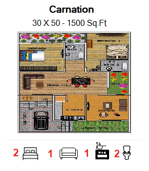 Floor Plan for 30ft x 50ft  Feet plot  1500 Sq.Ft.
