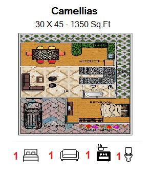Floor Plan for 30ft x 45ft  Feet plot  1350 Sq.Ft.