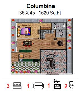 Floor Plan for 36ft x 45ft  Feet plot  1620 Sq.Ft.