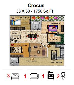 Floor Plan for 35ft x 50ft  Feet plot  1750 Sq.Ft.