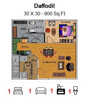 Floor Plan for 30ft x 30ft  Feet plot  900 Sq.Ft.