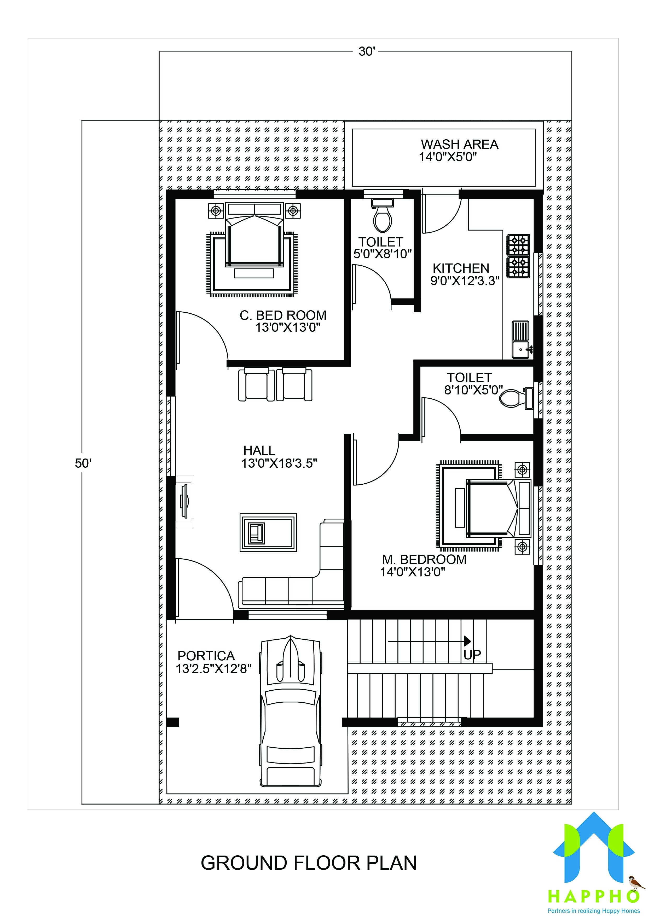 1 bhk floor plan for 20 x 45 feet plot 900 square feet for 2 bhk house plans 30x40