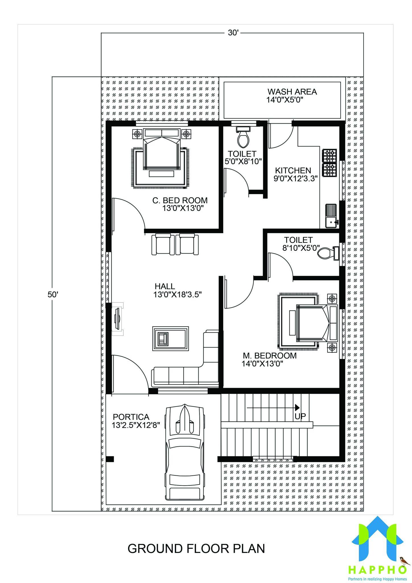 1 bhk floor plan for 20 x 45 feet plot 900 square feet for 50 yards house design