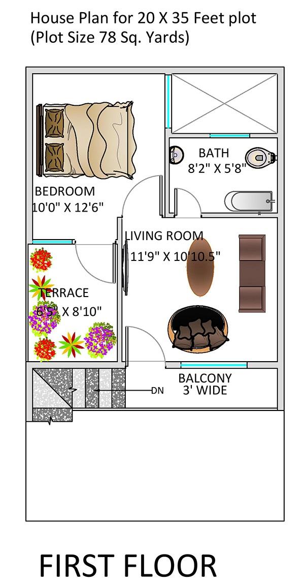 1 Bhk Floor Plan For 20 X 35 Feet Plot 700 Square Feet