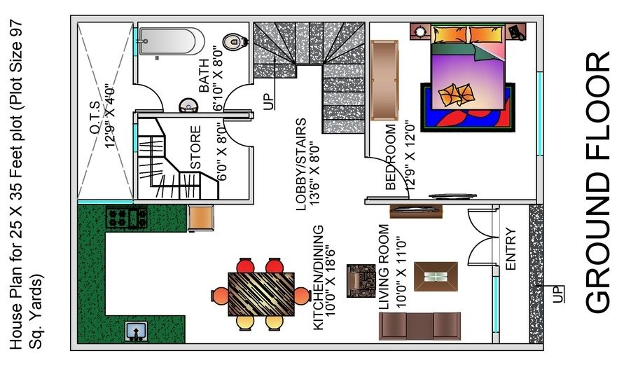 1 BHK Floor Plan for 25 x 35 Feet plot 873 Square Feet