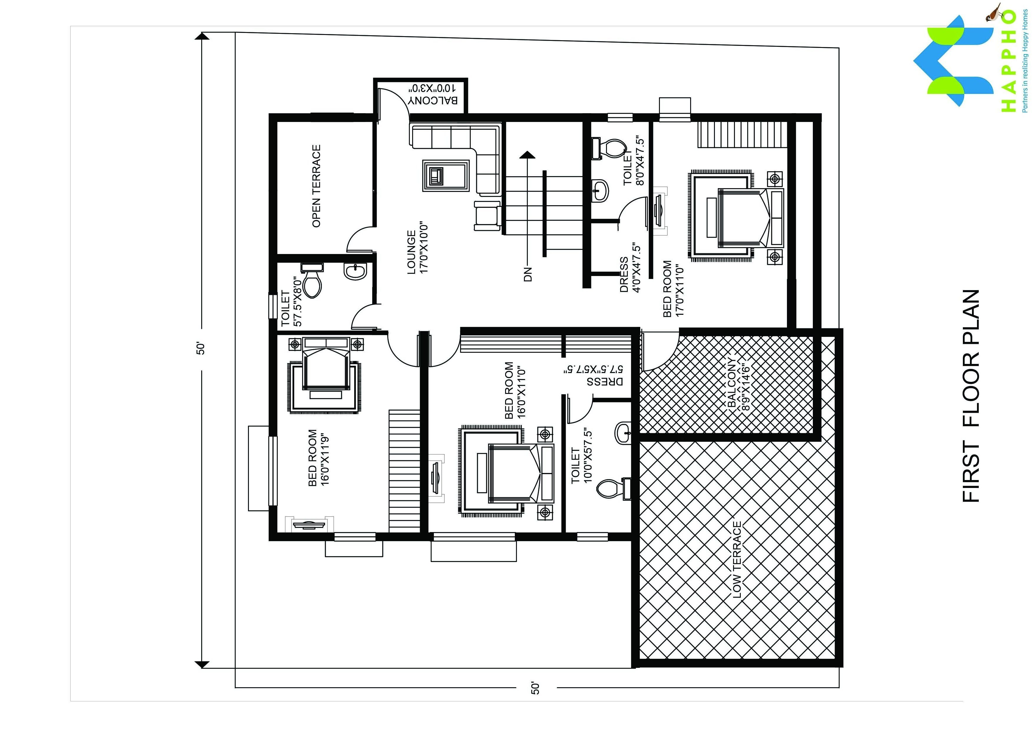 5 bhk floor plan for 25 x 25 feet plot 2500 square feet for 2500 sq ft apartment plans