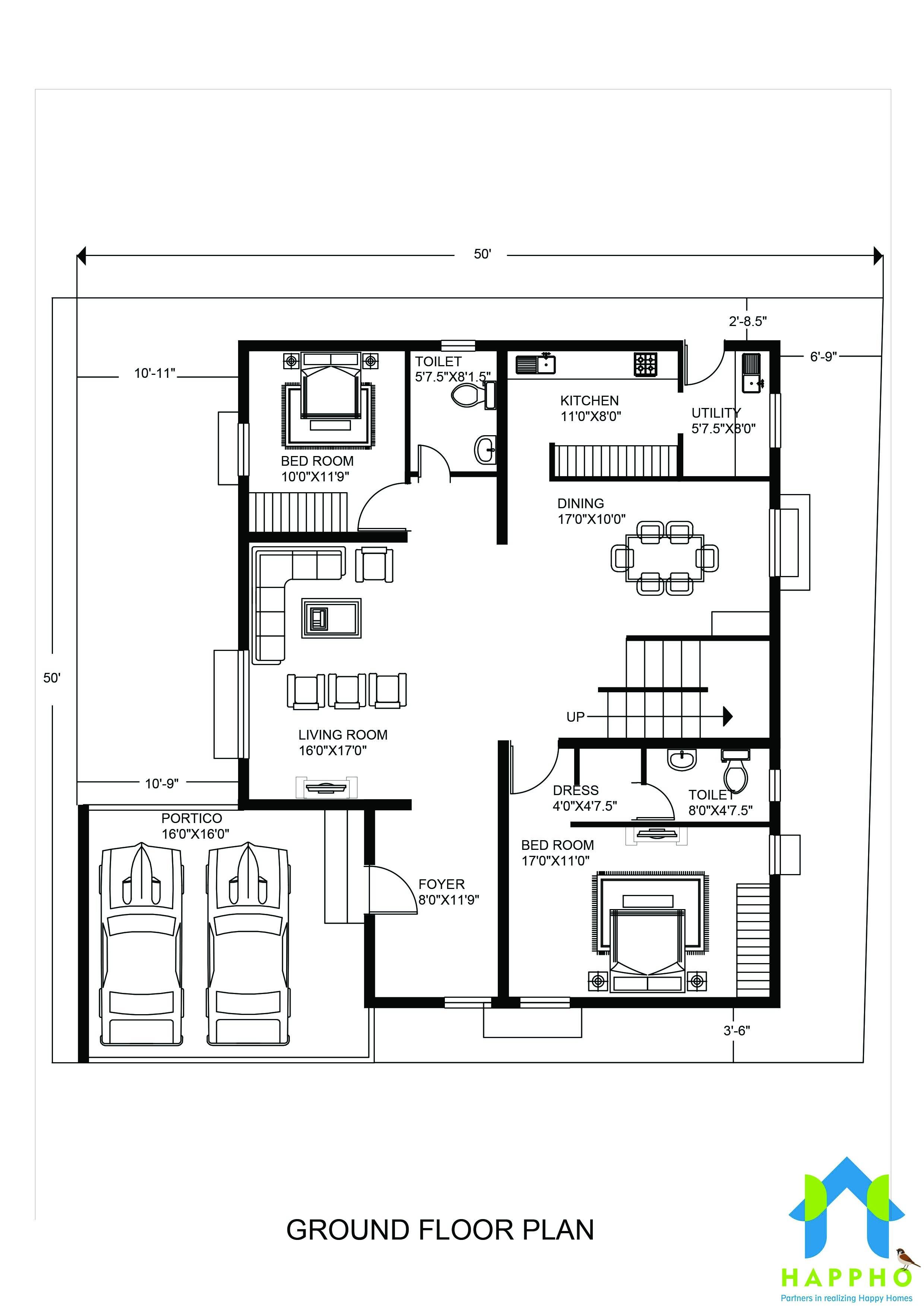 5 Bhk Floor Plan For 25 X 25 Feet Plot 2500 Square Feet