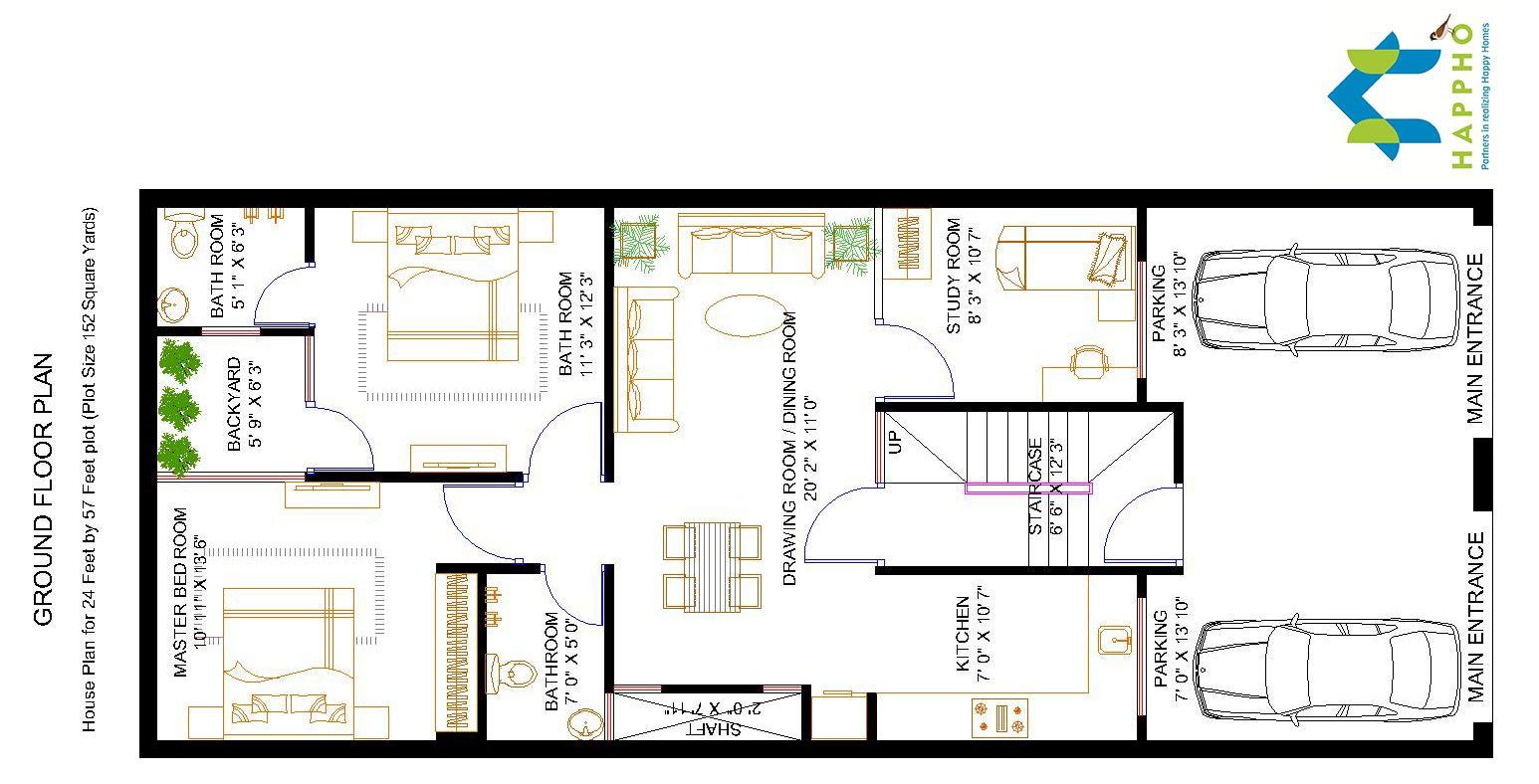2 Bhk Floor Plan For 24 X 57 Feet Plot 1368 Square Feet