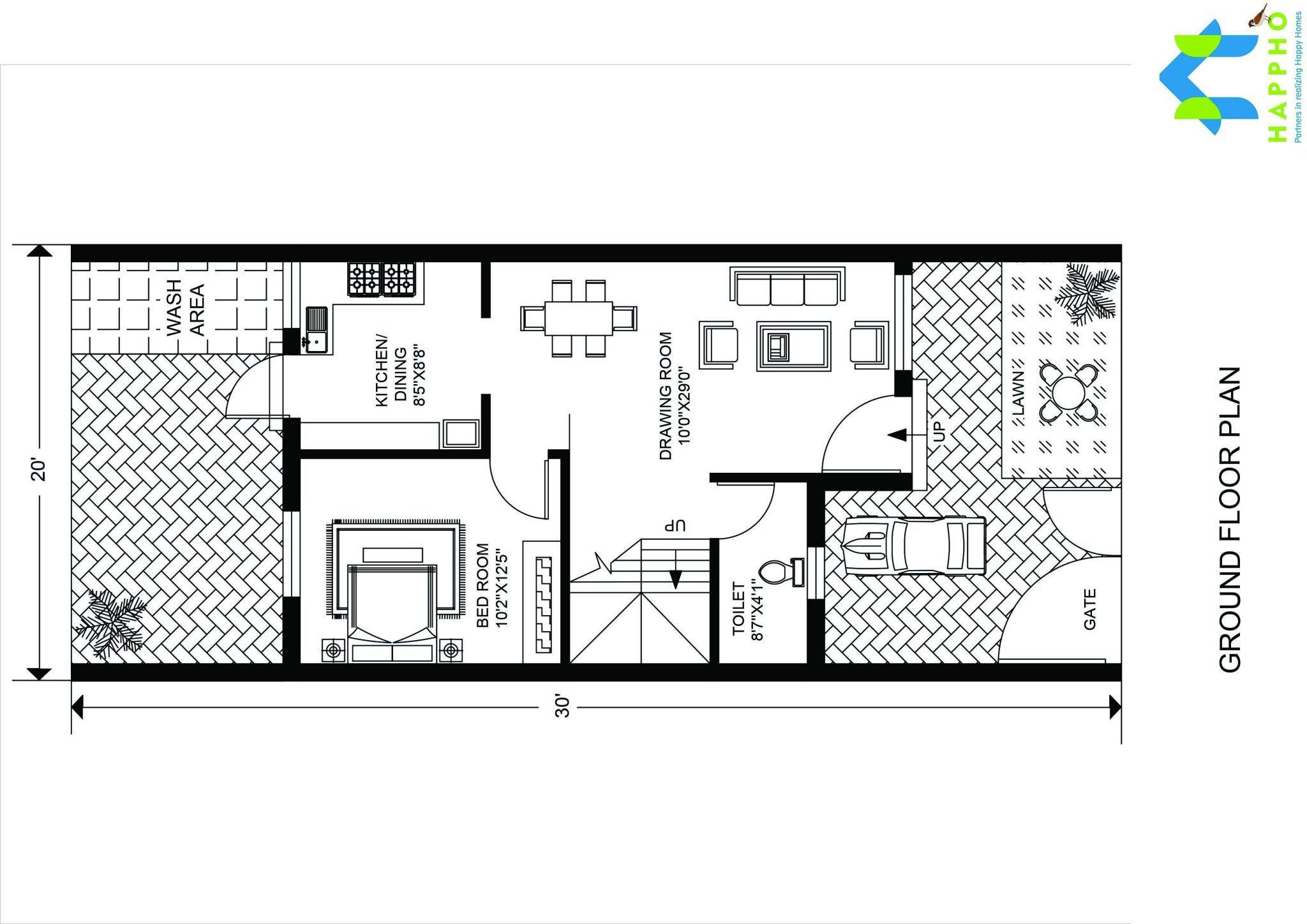 3 bhk floor plan for 30 x 20 feet plot 600 square feet for 120 square yards floor plan
