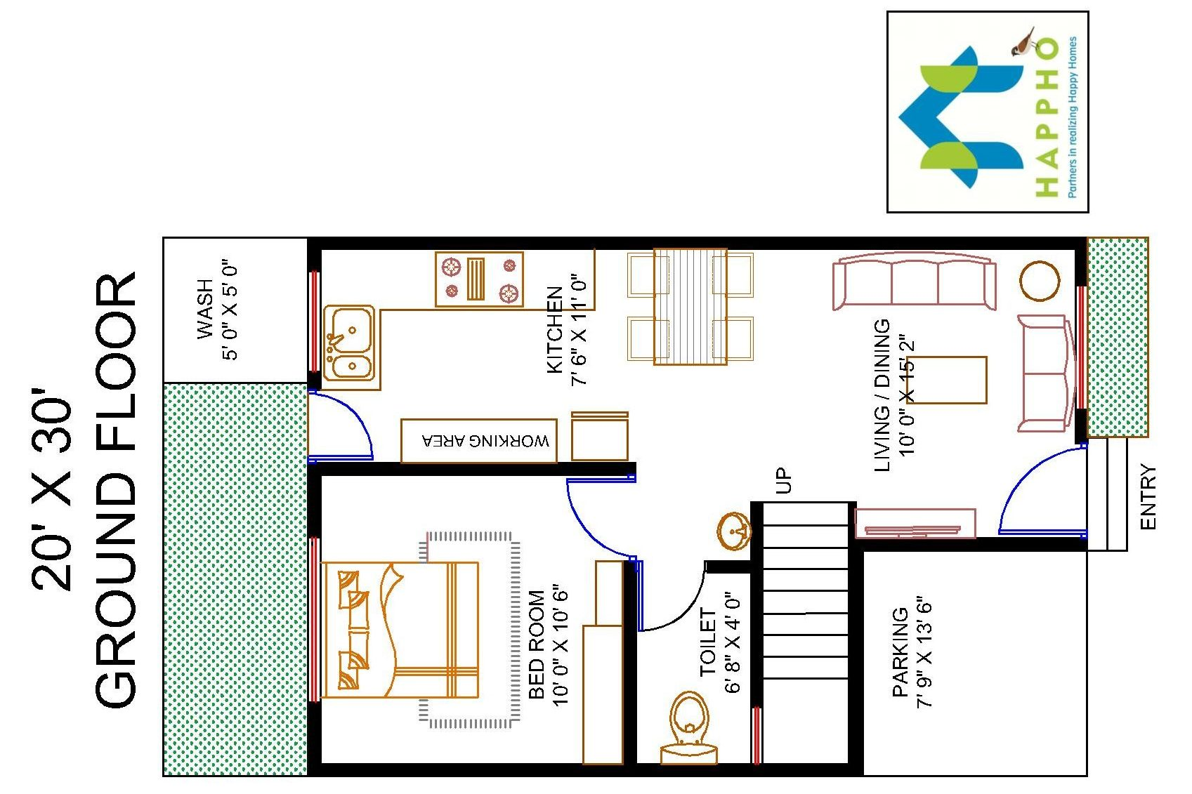 1-BHK Floor Plan for 20 X 30 Plot (600 Square Feet/67 SquareYards ...