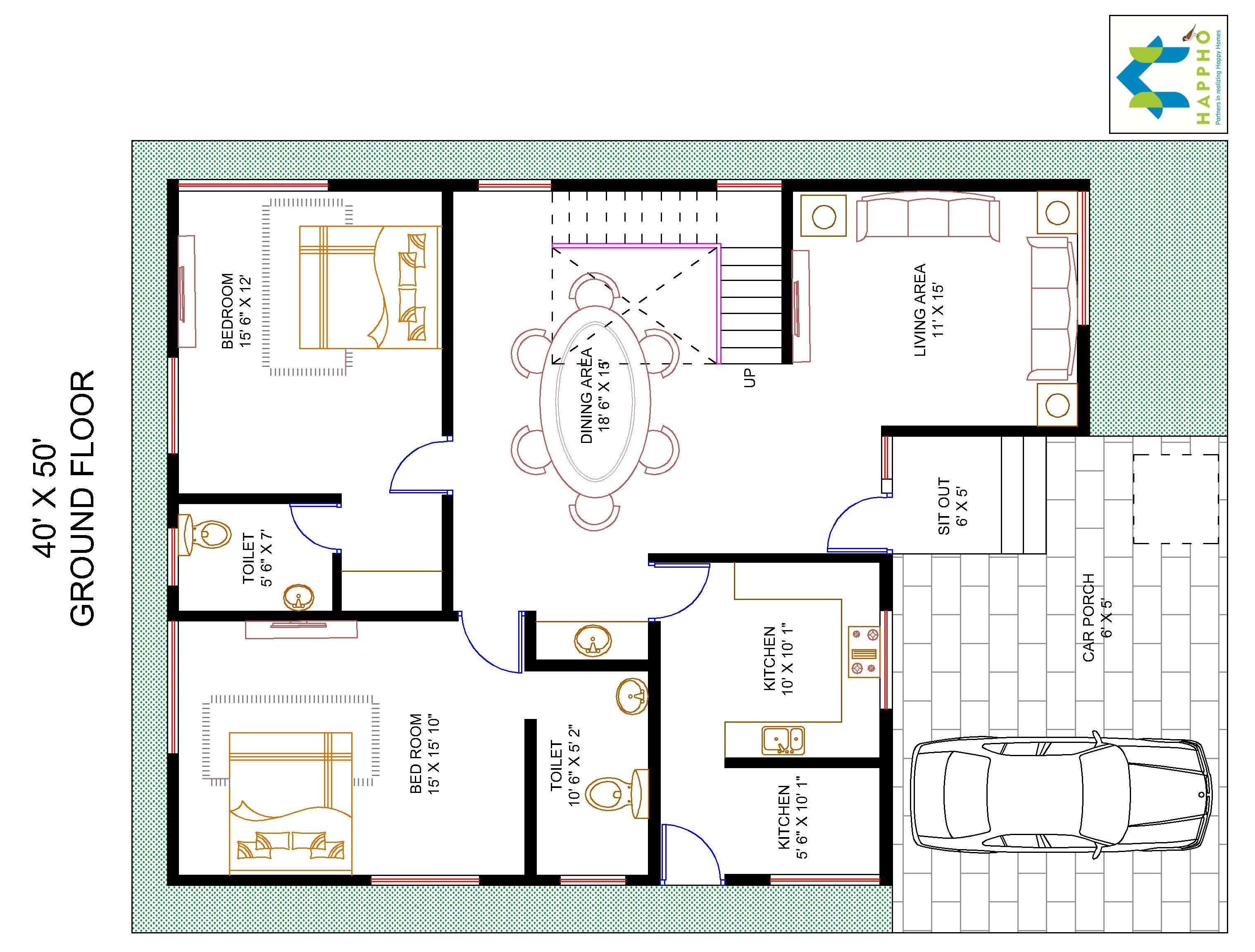4 bhk floor plan for 40 x 50 plot 2000 square feet 222