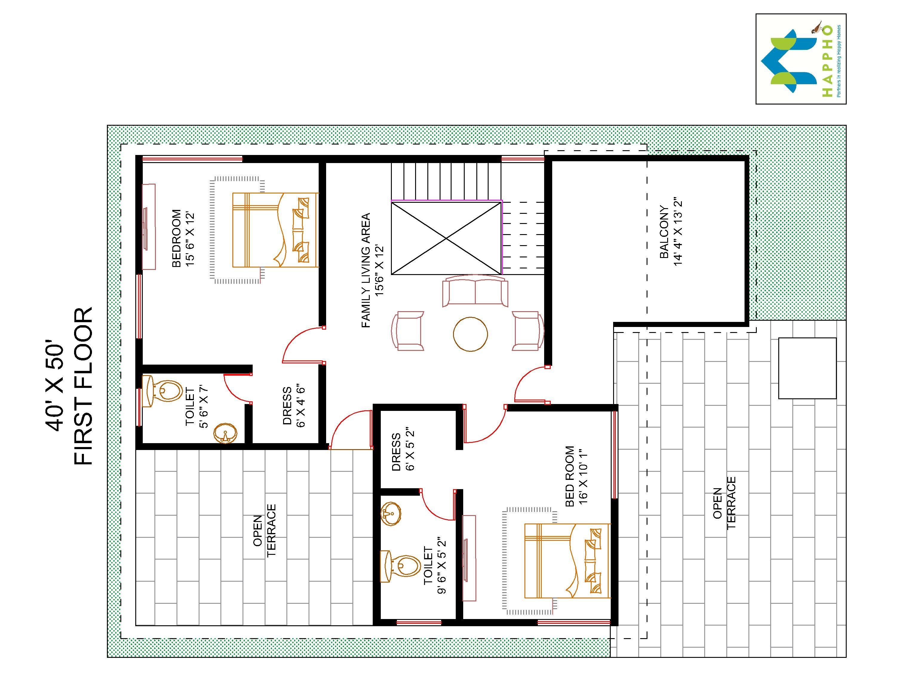 4 Bhk Floor Plan For 40 X 50 Plot 2000 Square Feet 222