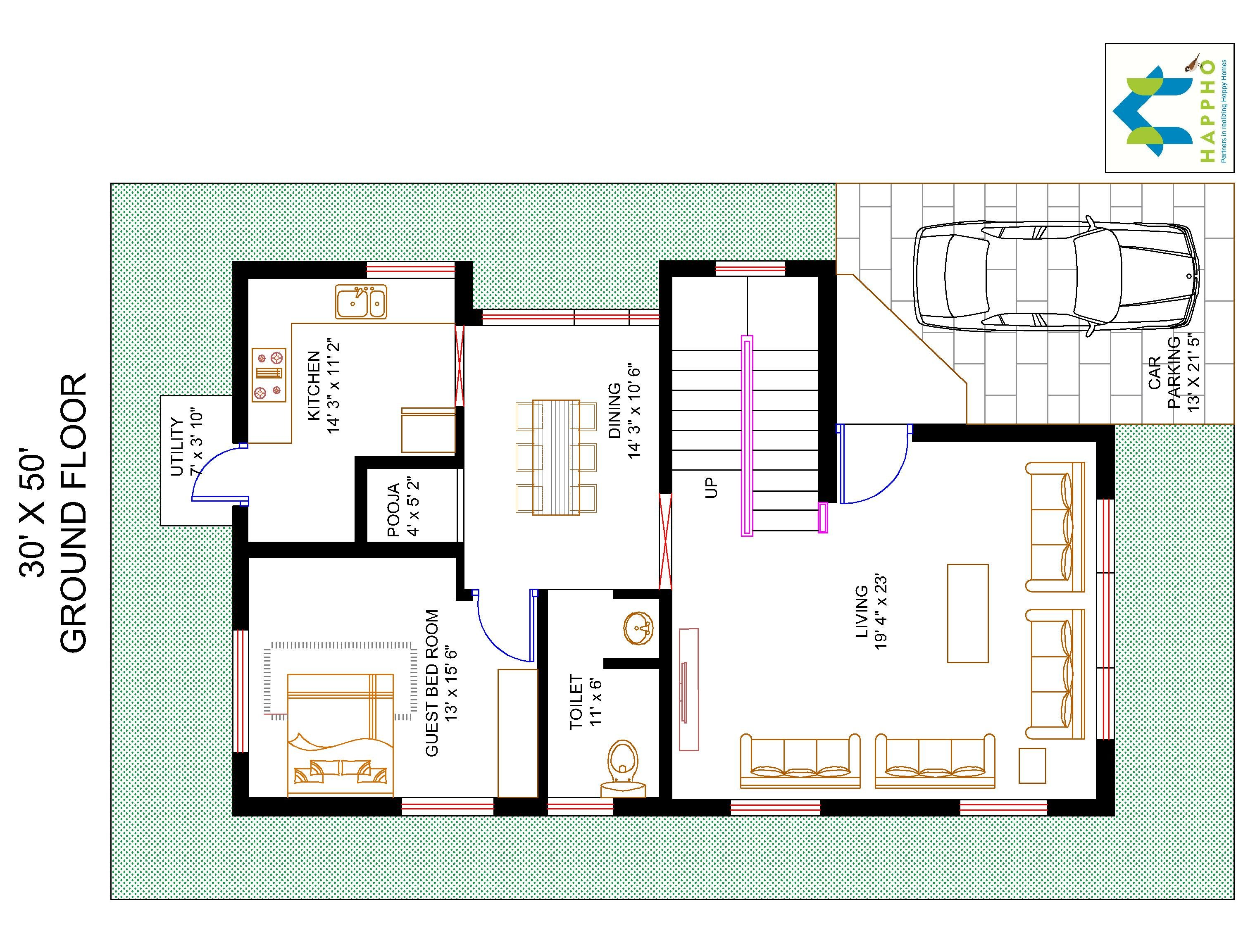 3 bhk floor plan for 30 x 50 plot 1500 square feet 166 for Plan of 3bhk house