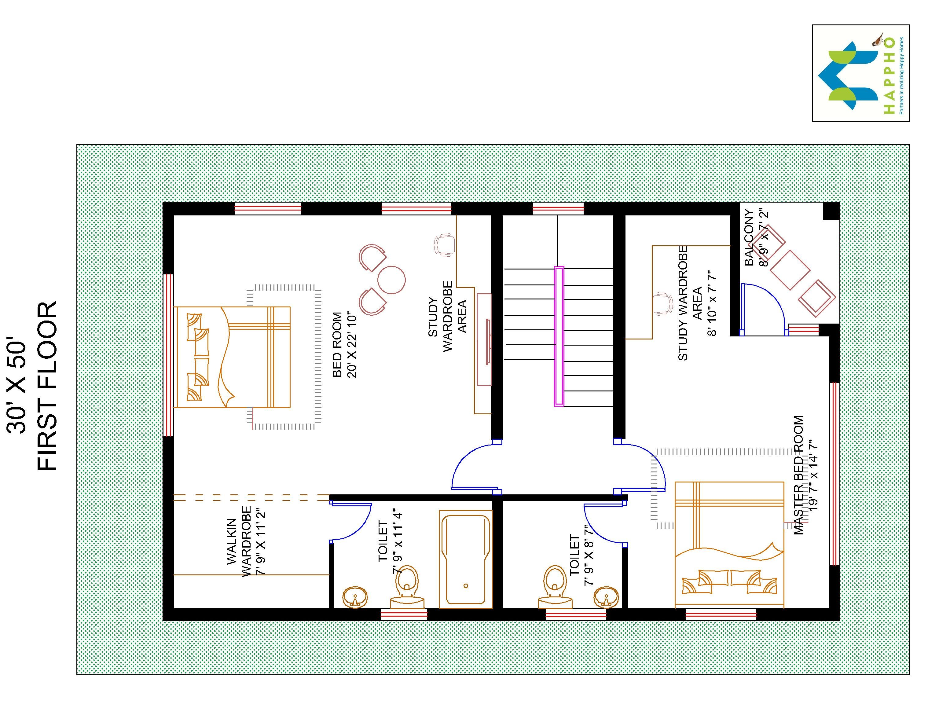 3 bhk floor plan for 30 x 50 plot 1500 square feet 166 for 1500 sq ft metal building