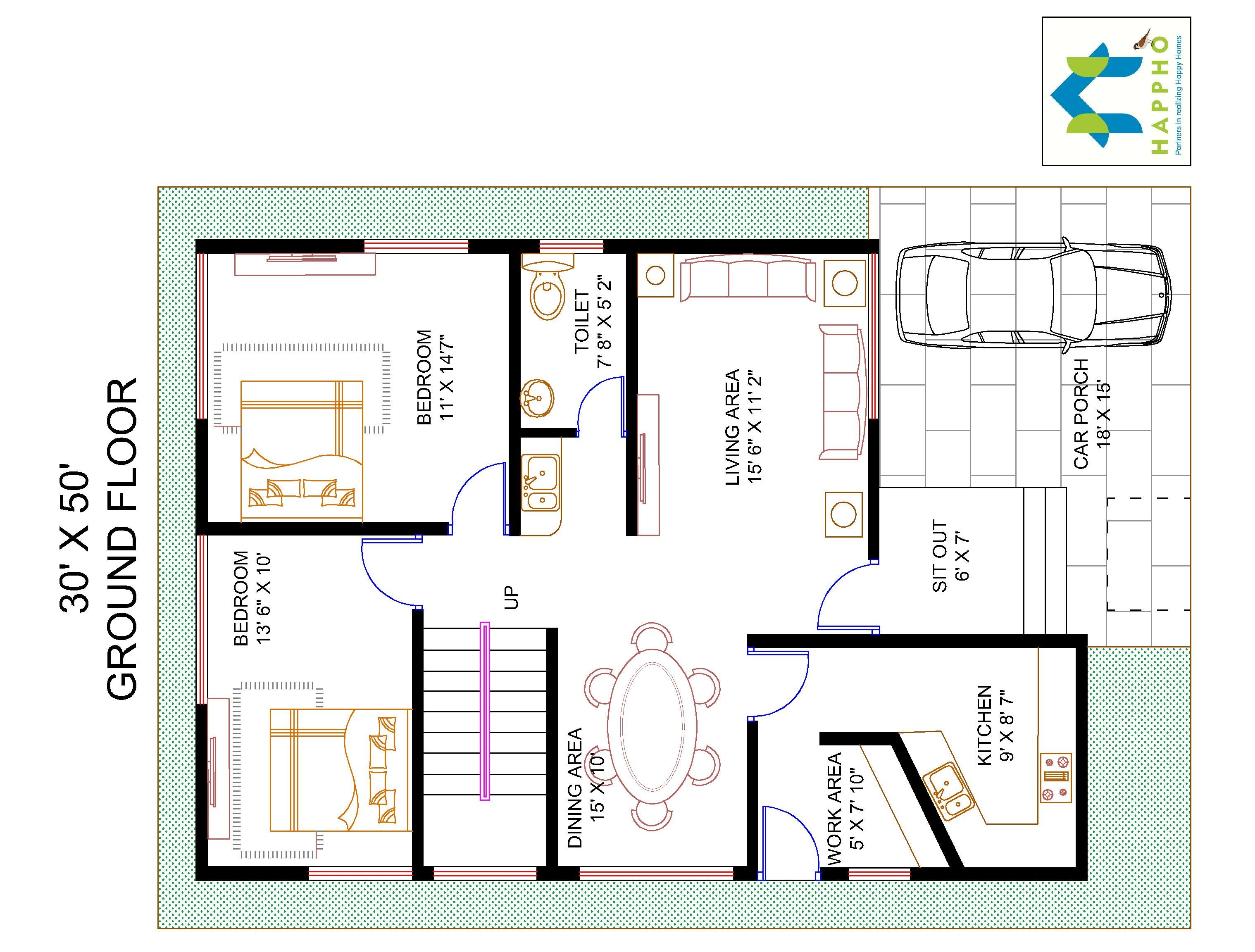 4 bhk floor plan for 30 x 50 plot 1500 square feet 166