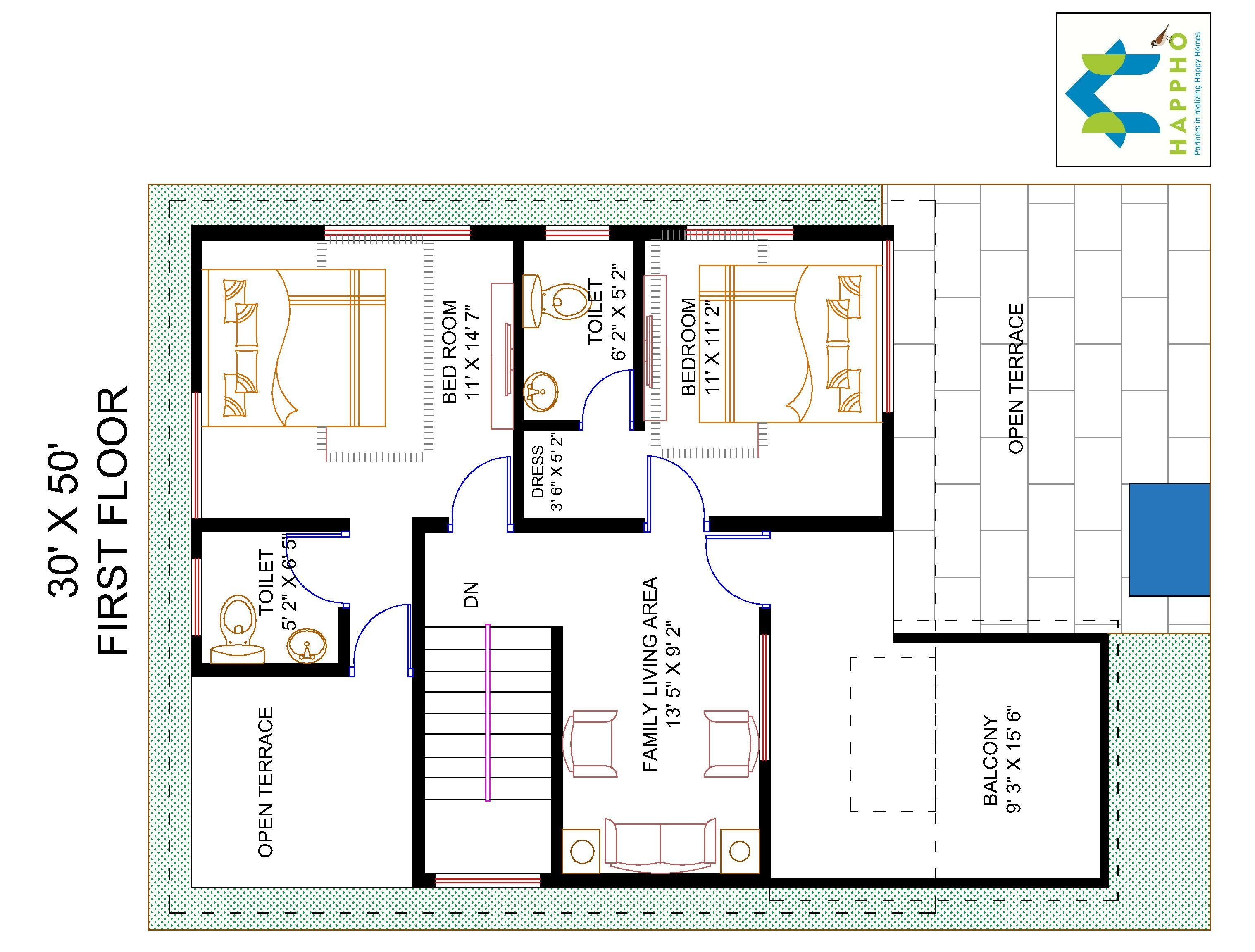 4 bhk floor plan for 30 x 50 plot 1500 square feet 166 for Floor plan for 4bhk house