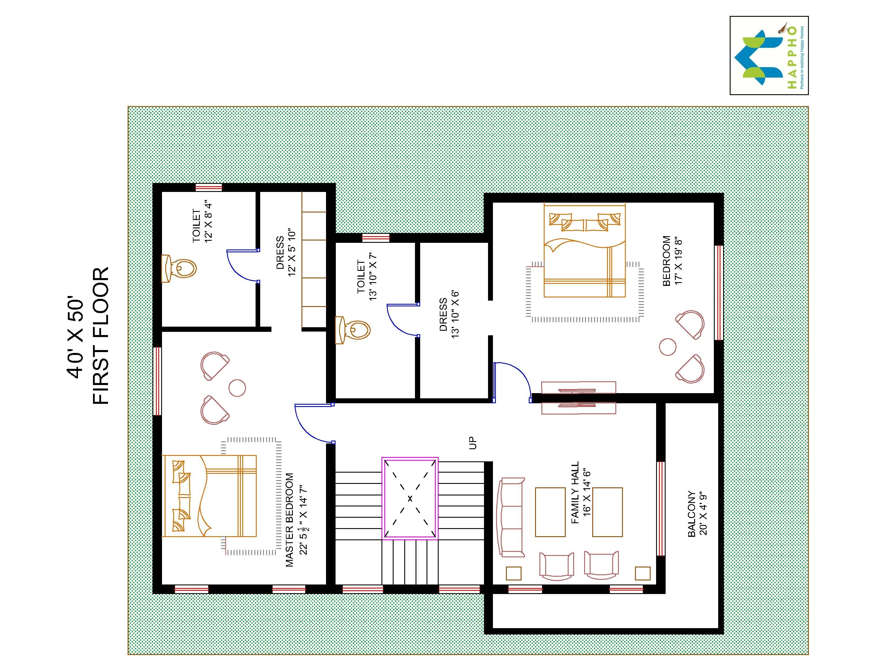 3 bhk floor plan for 40 x 50 plot 2000 square feet 222 for Square footage of a room for flooring