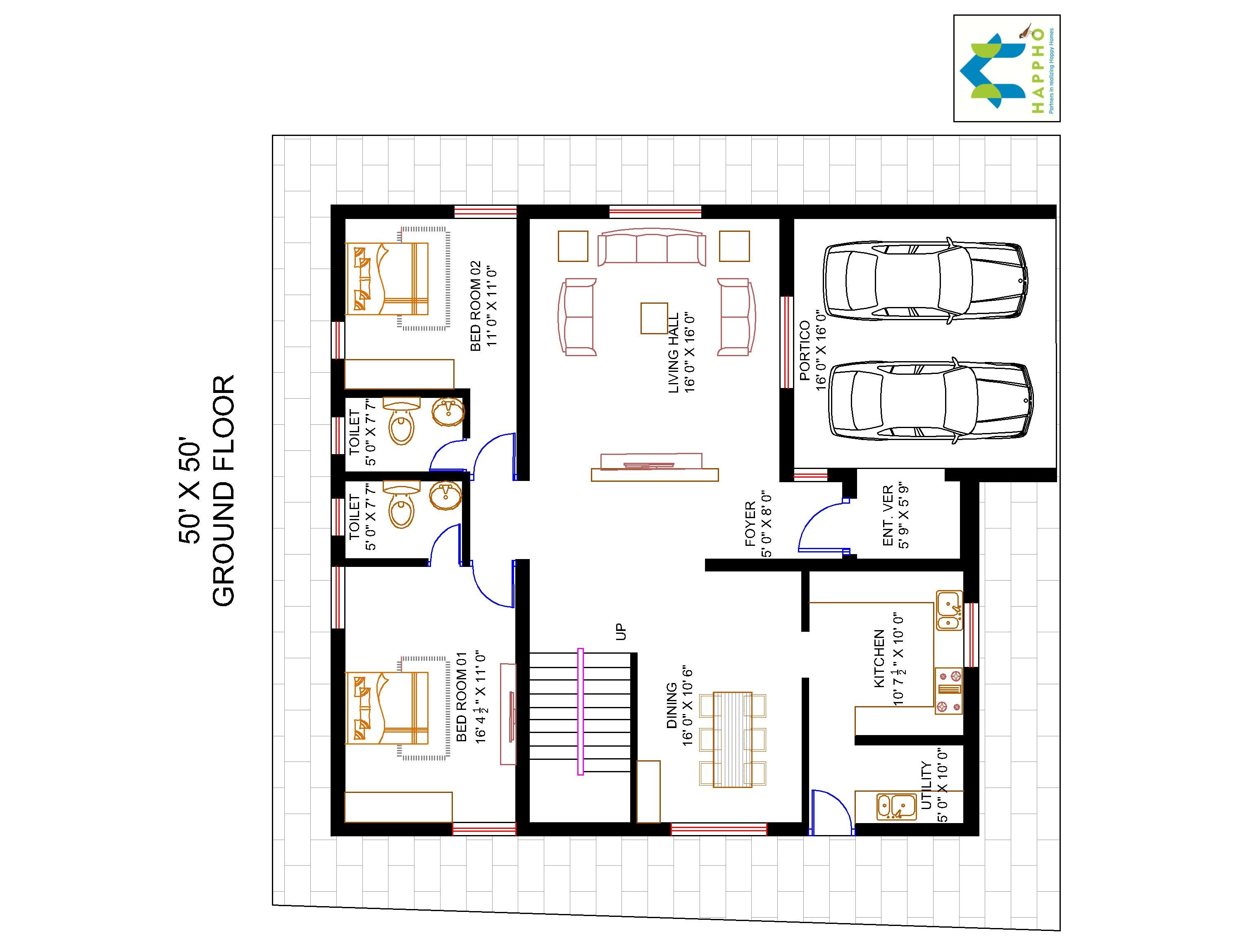 4 bhk floor plan for 50 x 50 plot 2500 square feet 278 for Floor plans 2500 square feet