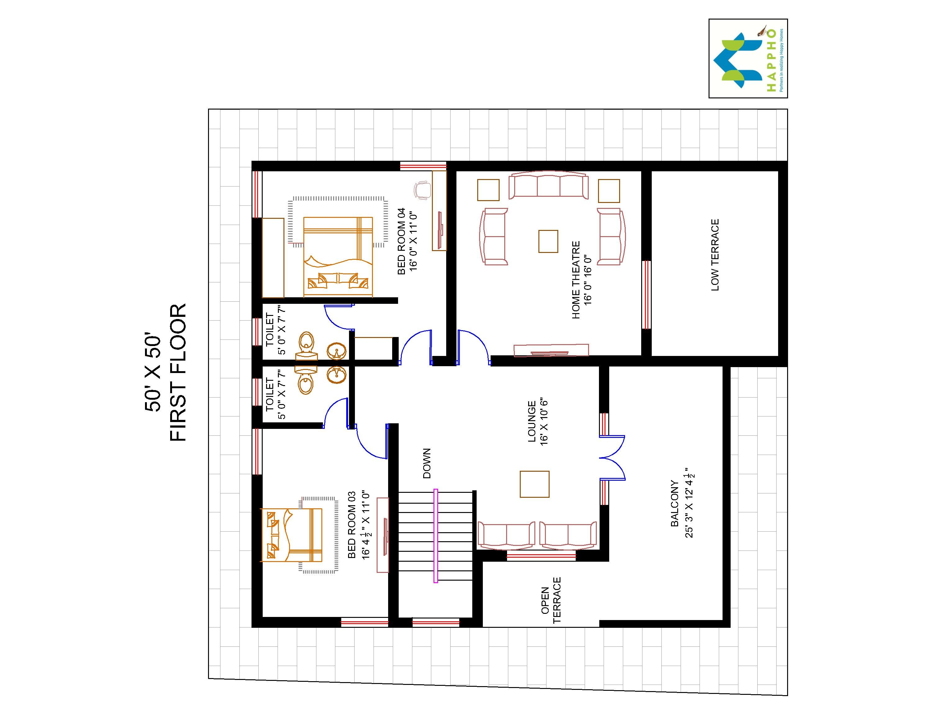 4 bhk floor plan for 50 x 50 plot 2500 square feet 278 for Four bhk bungalow plan