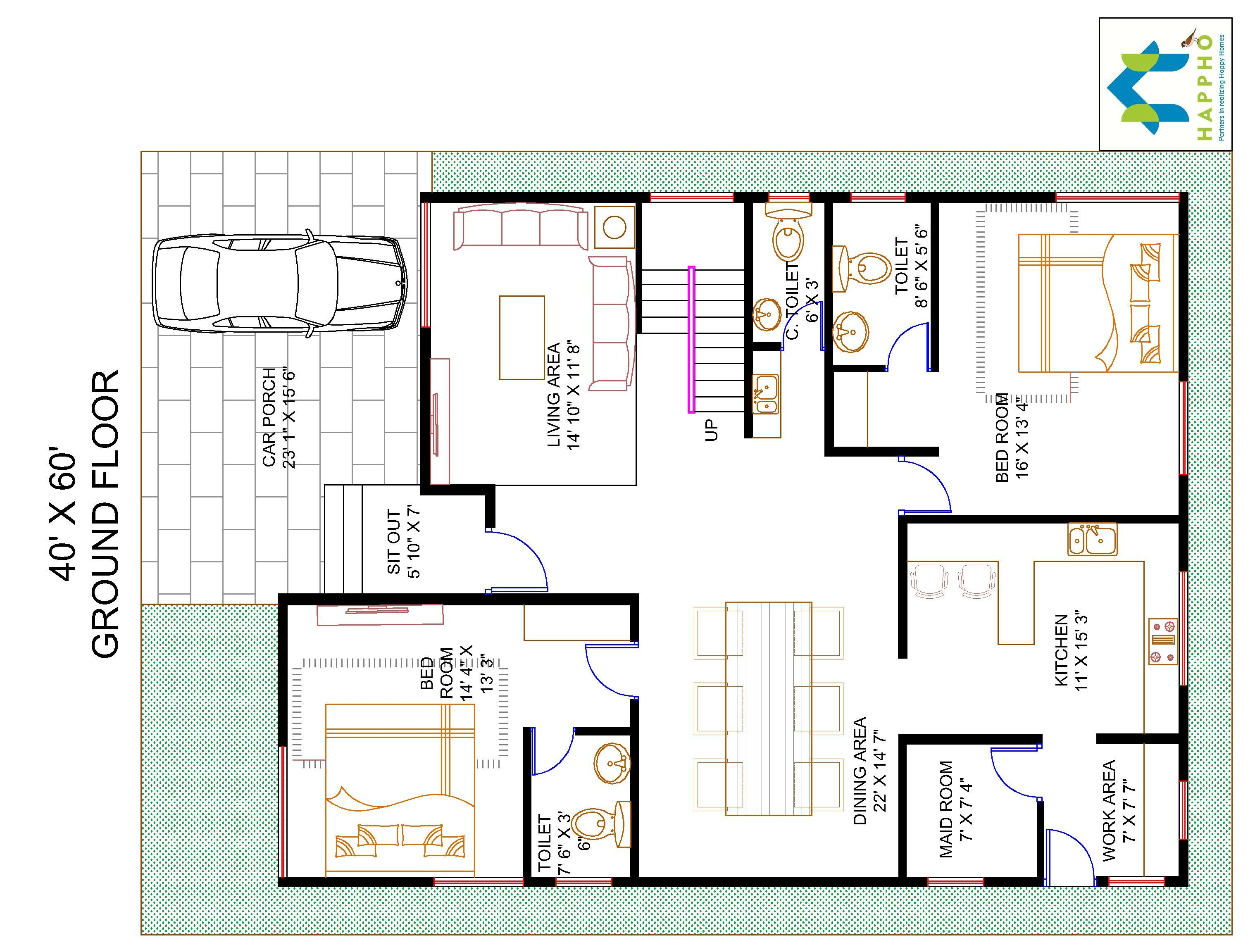 60 40 Floor Plans: 4-BHK Floor Plan For 40 X 60 Plot (2400 Square Feet/267
