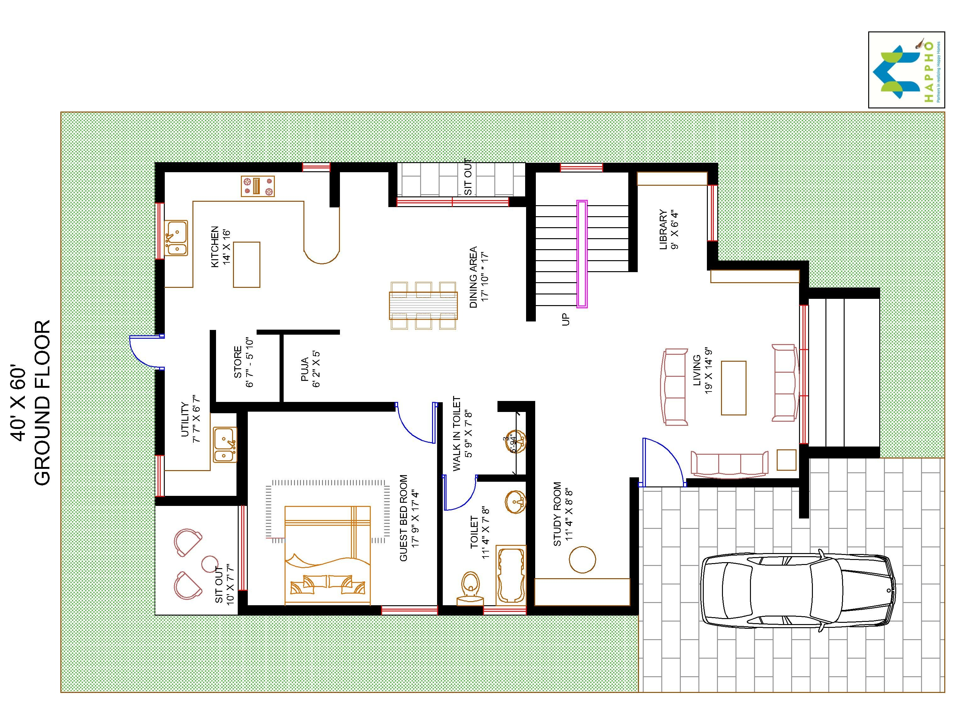 3 bhk floor plan for 40 x 60 plot 2400 square feet 266 for Plan for 40 x 60 plot