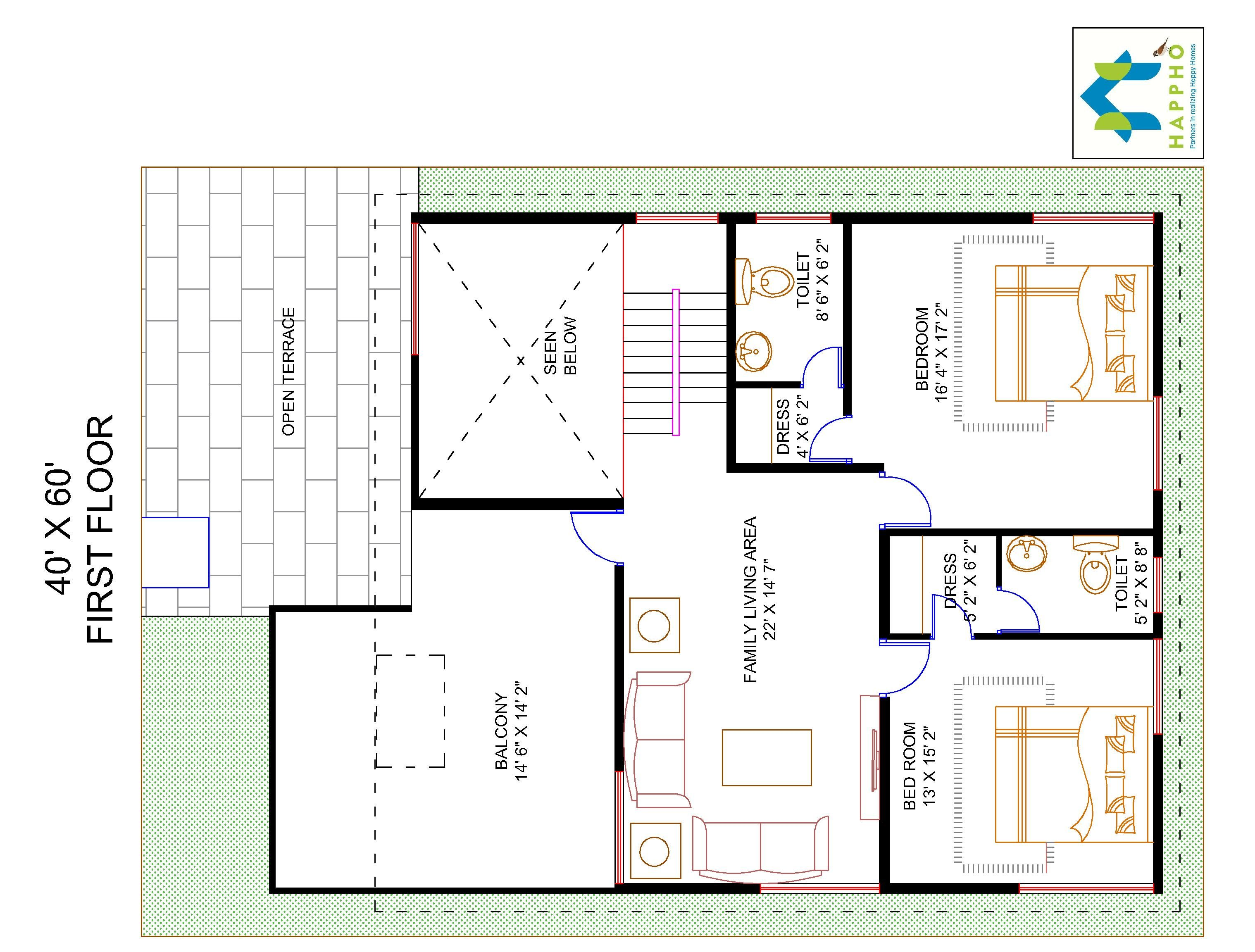 4-BHK Floor Plan For 40 X 60 Plot (2400 Square Feet/267