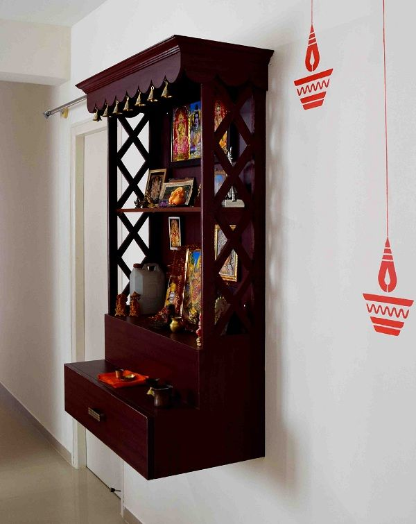 Pooja Room Interior Design Ideas Part - 29: Location Idea 2 - Pooja Room In Corner Space