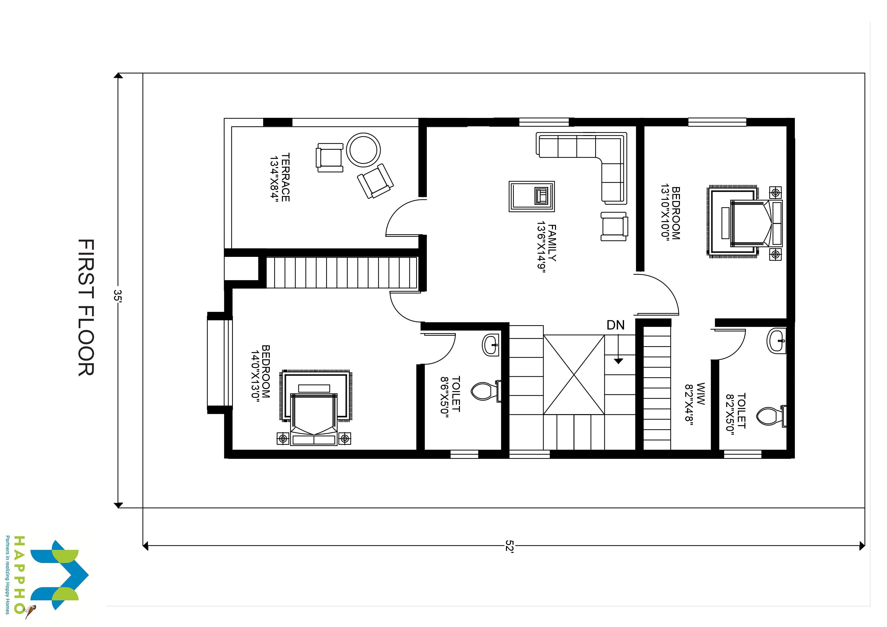 1 Bhk Floor Plan For 30 X 50 Plot 1500 Square Feet 167