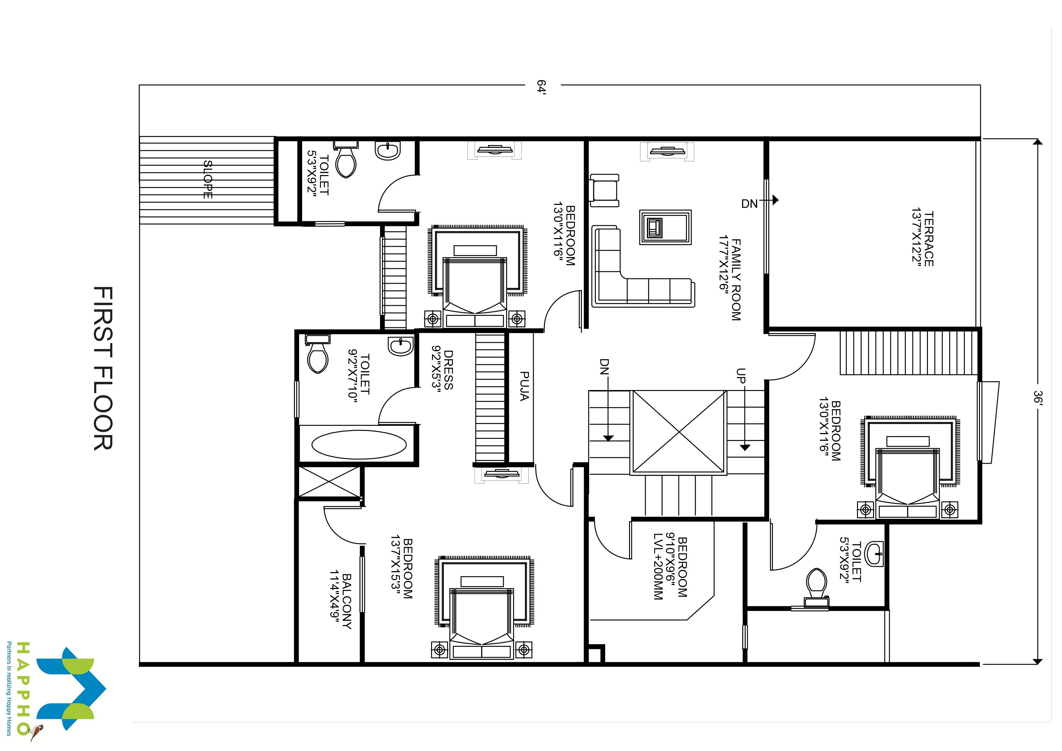 3 bhk floor plan for 65 x 40 plot 2600 square feet 289 for 2600 square foot house plans