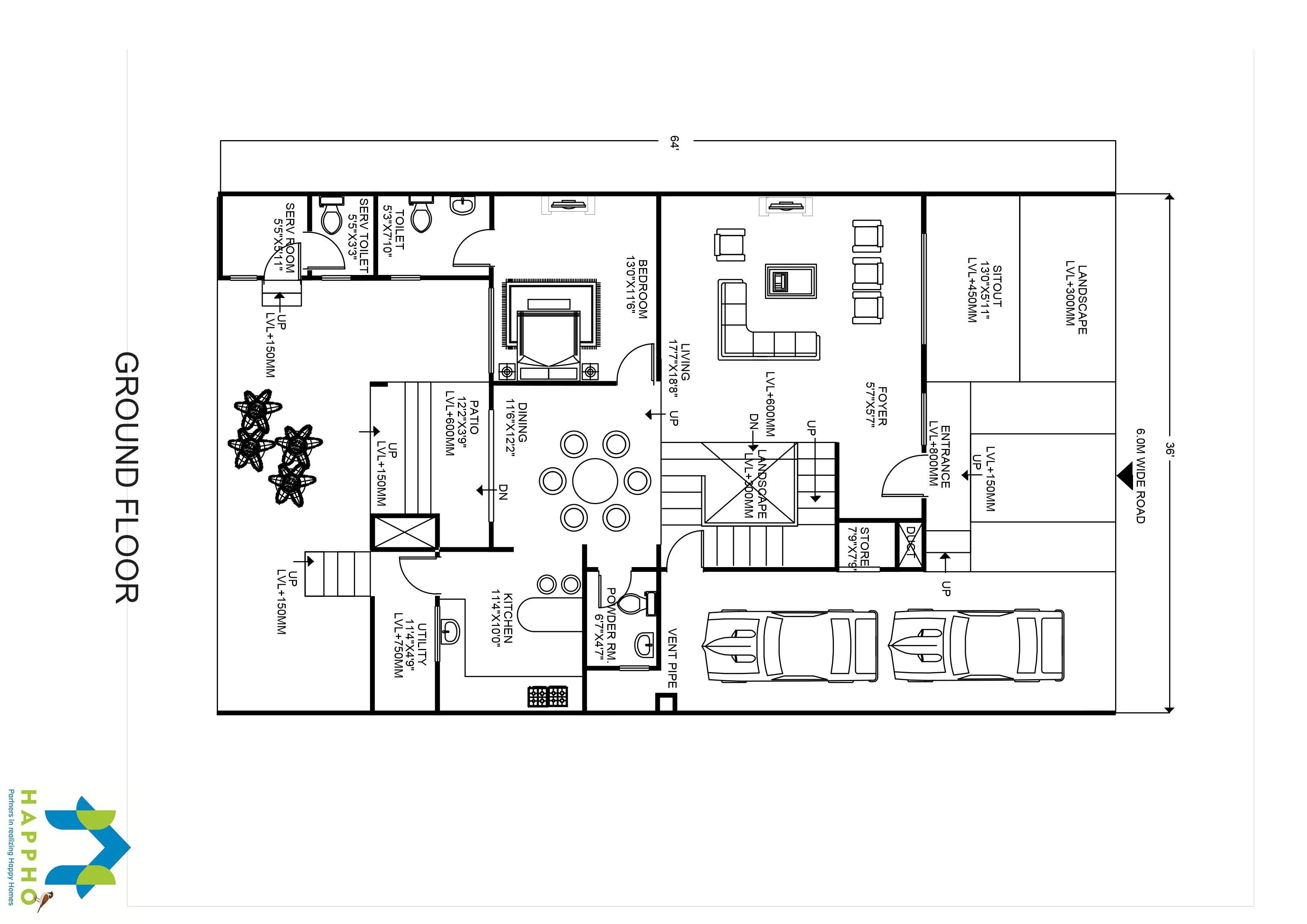 3 bhk floor plan for 65 x 40 plot 2600 square feet 289 for 2600 sq ft house plans