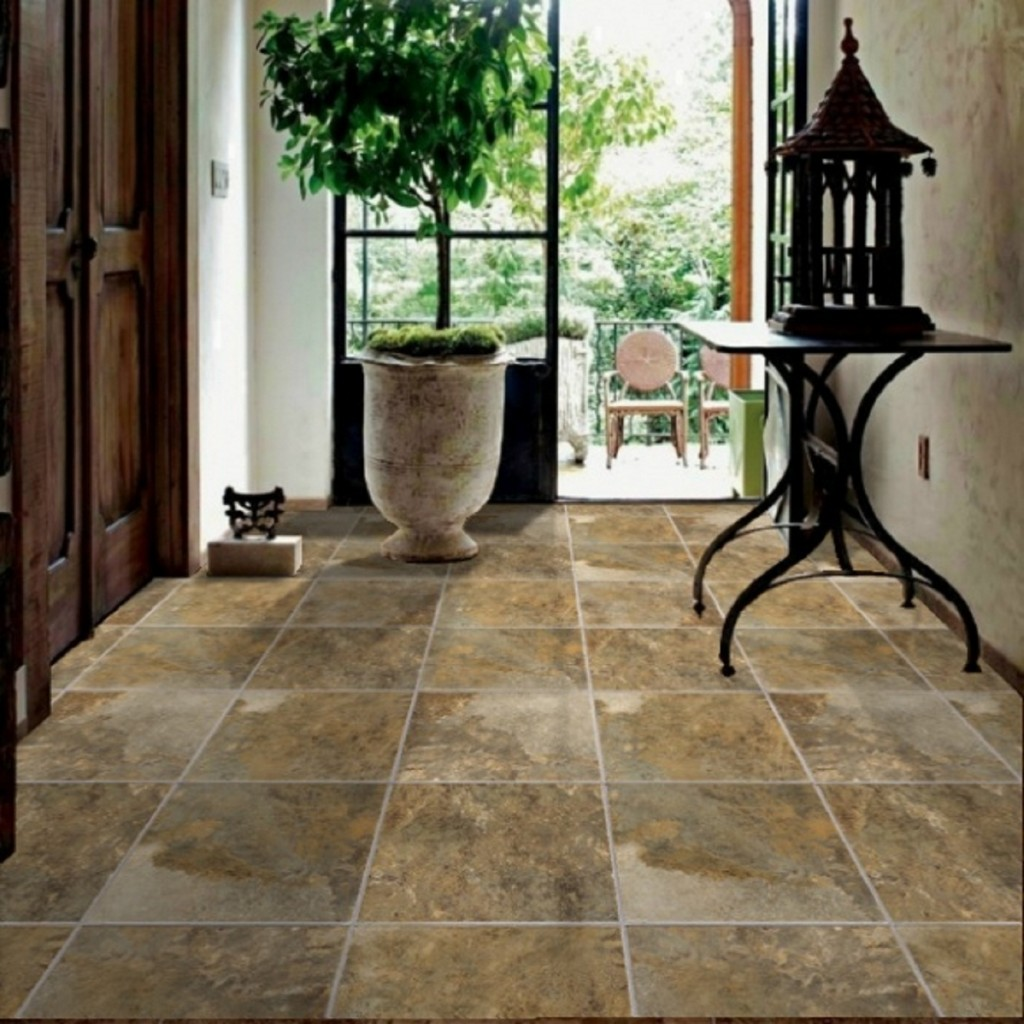 Modern Brown Stone Hallway Floor Tile Design