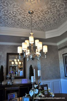 Tray Ceiling with flower painting and Chandelier