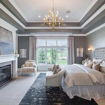 Tray Ceiling with side boarders and chandeliers