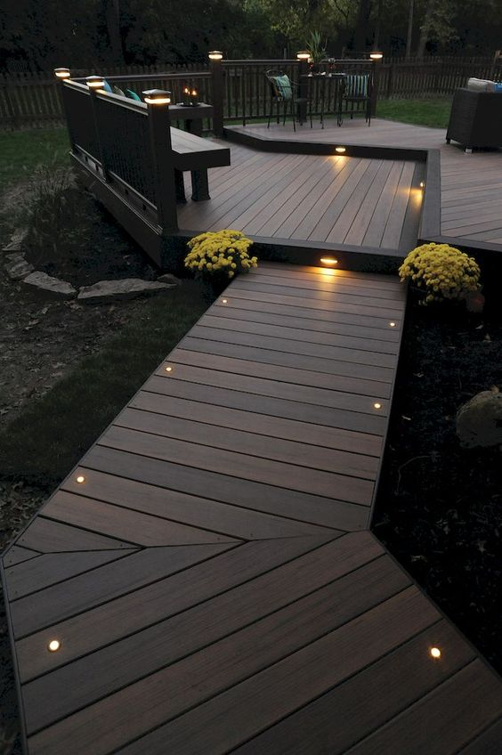 Deck Lighting to Highlight elevated Pathways and seating areas