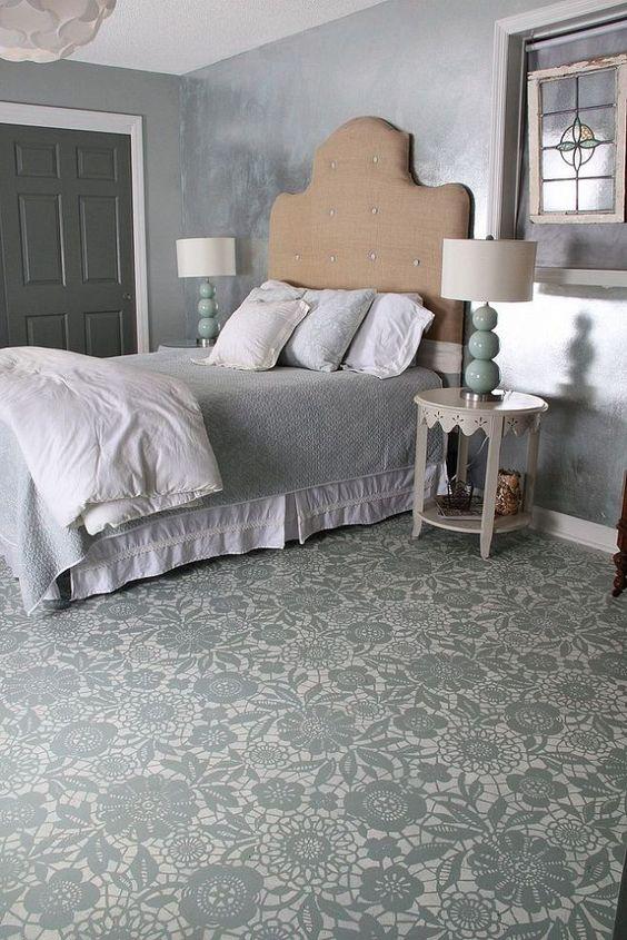 Flower pattern design flooring painting in Bedroom