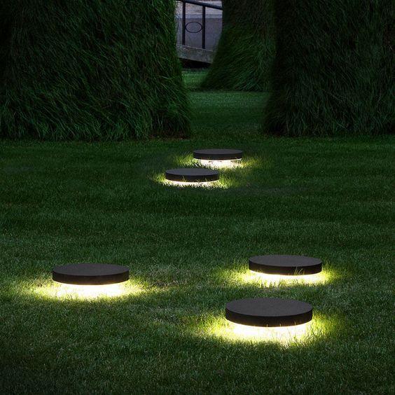 Inground Lighting Fixtures in Garden Area