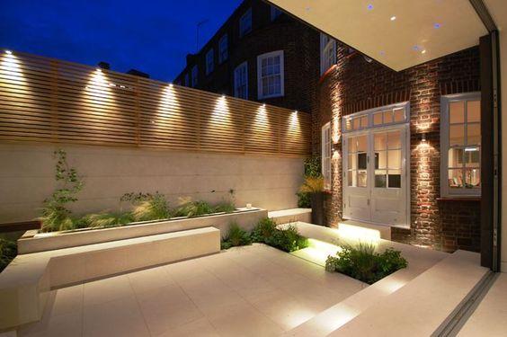 Lighting on External Facade of the house to highlight garden area