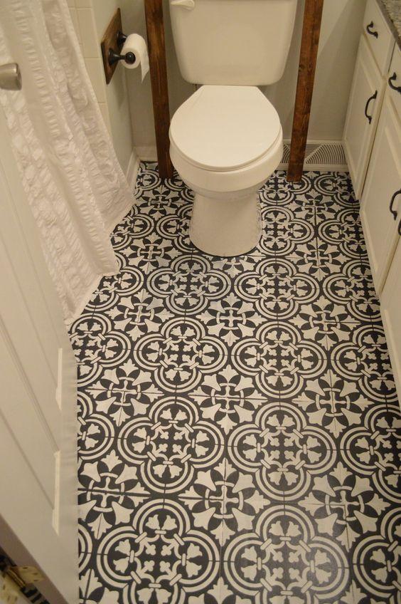 Rajasthani Jalli pattern painted floors in bathroom