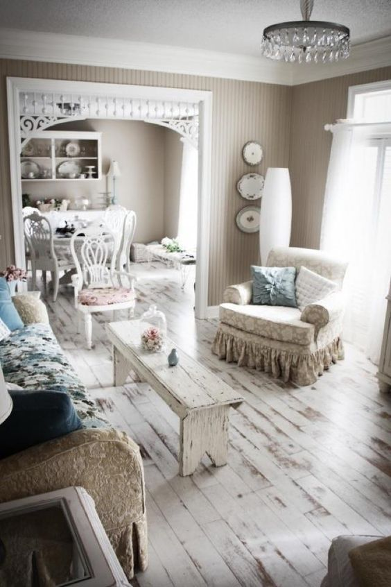 Rough and crude look with faded paint flooring