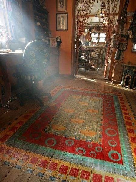 Rug Designs in Paint on Floors